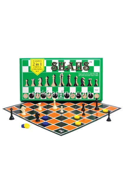 SHAHS Family 2 in 1 Chess & Checkers Set (SPM 86)