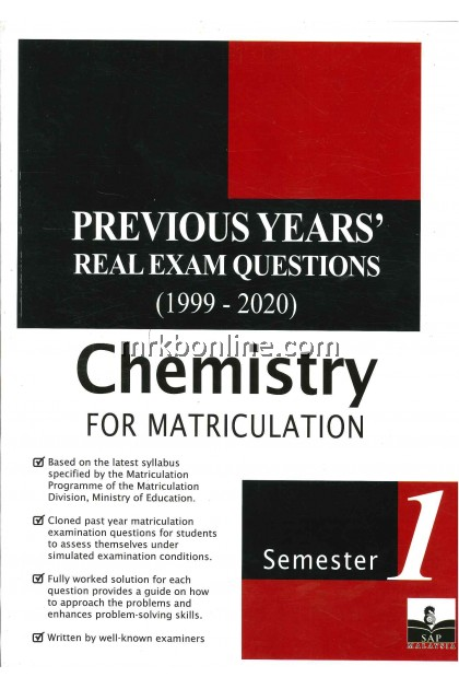 [2021] Previous Years' Real Exam Questions Chemistry For Matriculation Semester 1 (1999-2020)